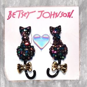 AUTHENTIC Betsey Johnson Pave cat (drop) earrings